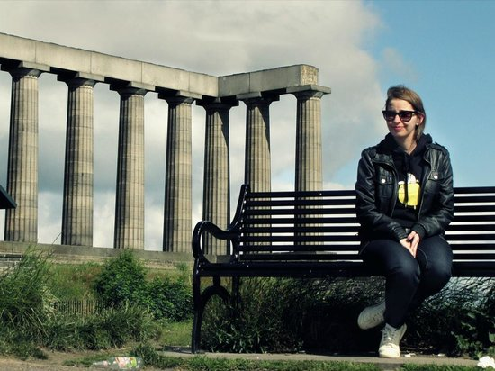 Calton Hill: National Monument of Scotland on the background