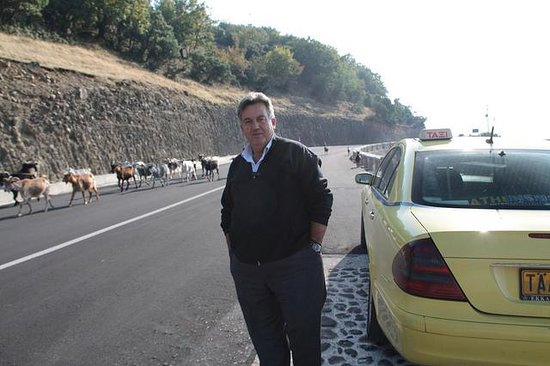 John's Private Taxi Day Tours in Athens : John waiting for us at the Meteora