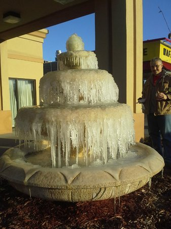 Ramada Jacksonville: The fountain froze over :) right outside the hotel's front doors