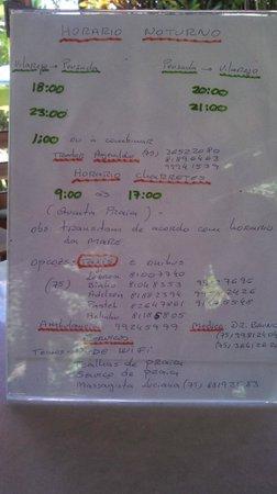 Vila Mato Verde Chalets: Informações da pousda (horários de traslado, táxis, serviços...)