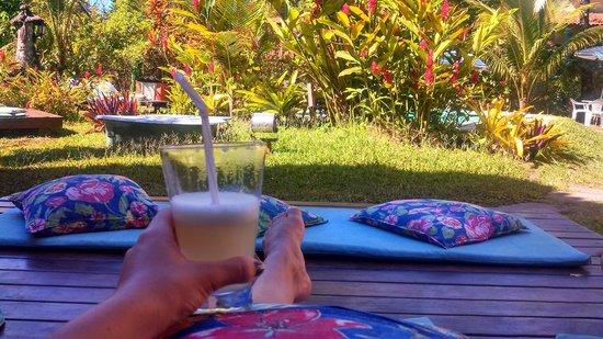 Vila Mato Verde Chalets: Drink de boas vindas oferecido pela pousada no jardim.