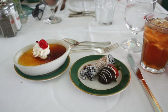 The Grand Hotel Luncheon Buffet : Creme caramel, cannoli and chocolate dipped strawberry