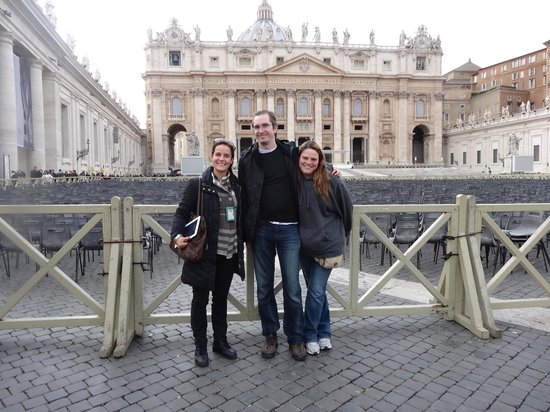 Private Tours of Rome - Vatican, Sistine Chapel and Colosseum Tours : Us and our tour guide in St. Peter's Square after a great tour day!