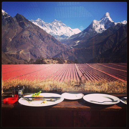 Base Camp Adventure Treks & Expedition: Breakfast with Everest and Amadablan. at 3,800m!!
