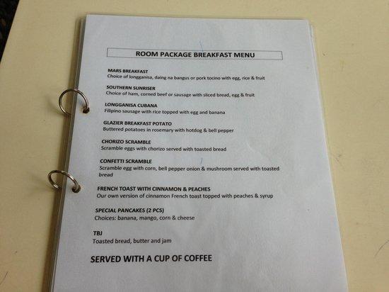 Arwana Hotel & Restaurant: ホテルの朝食メニュー