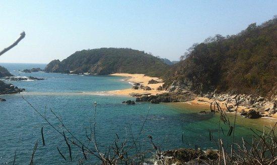 Secrets Huatulco Resort & Spa: virgin beach from the cliffs