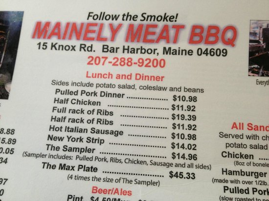 Mainely Meat Barbeque : Menu