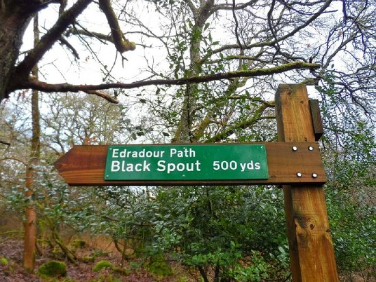 Black Spout Wood: The Edradour Path Signpost at the Car Park