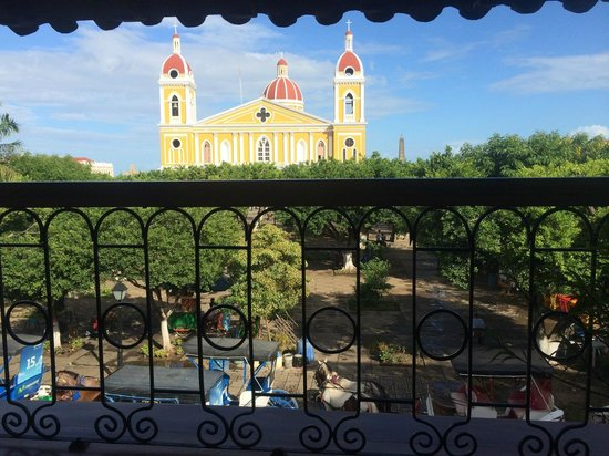 Hotel Plaza Colon: View from our balcony of the square and Granada Catedral