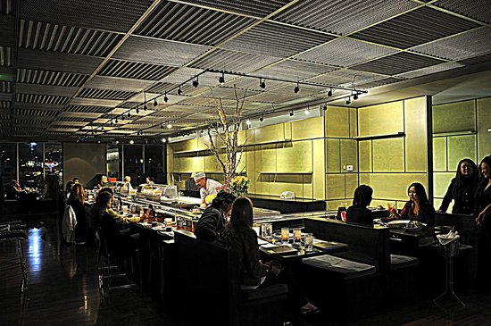 School Restaurant Dining Room With Kaiten Sushi Conveyor
