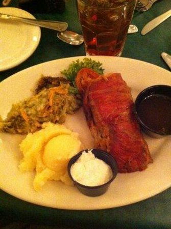 Clark's Inn and Restaurant: A weird HUNK of supposed primerib. Over cooked cut wrong, no flavor, dry. Mashed potatoes -boxed