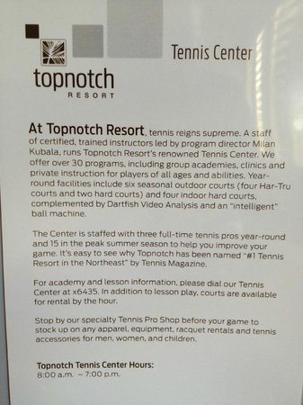 Topnotch Resort: Hotel Information Provided in Room
