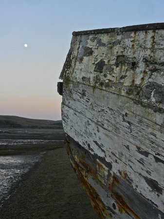 Dancing Coyote Beach: Pt. Reyes shipwreck and moon.
