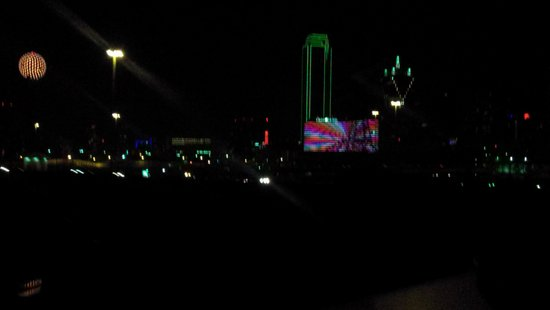 Omni Dallas Hotel: The Omni is the bright square on the right. From the car on the hwy back to the hotel