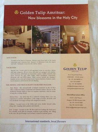 Golden Tulip Amritsar: Brochure #1