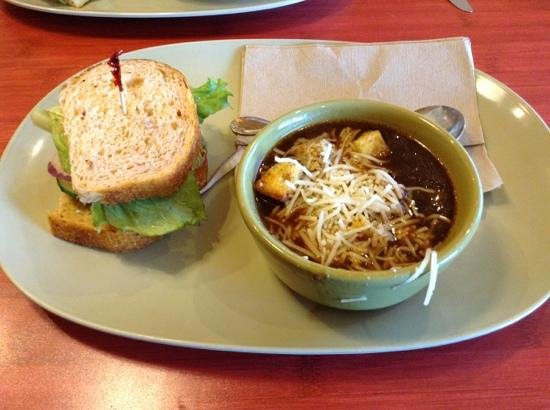 Veg sandwich & French onion soup - Picture of Panera Bread ...