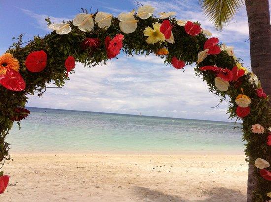 Sugar Beach Golf & Spa Resort : indischer Ozean durch die Blumen