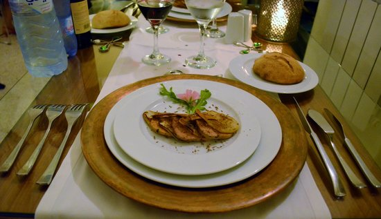 Domaine Malika: Duck fois gras and pears - one of five courses, Christmas dinner