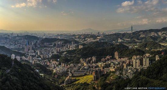 Maokong mountain: 11 image panorama of Taipei form the Maokong Gondola