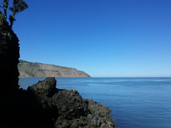 Huia Beach Store & Cafe : View out to the Manukau Heads from Destruction Gully