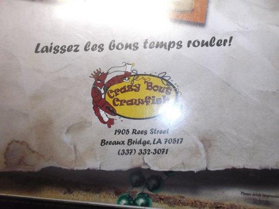 Crazy Bout Crawfish Cajun Cafe : Sur le menu - 20 janvier 2014.