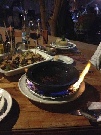 Ckunna: Great fondue, flaming at the table!!!