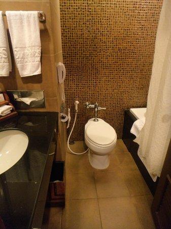 Empress Hotel: Banheiro muito pequeno e com vazamento