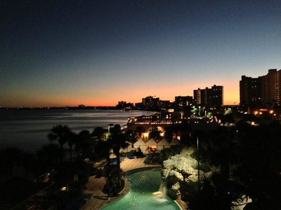 Clearwater Beach Marriott Suites on Sand Key: View from room at night.