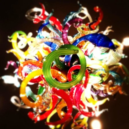 Chihuly Collection : multicolor chandelier from the bottom.