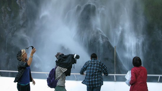 Under the waterfall on Milford Sound
