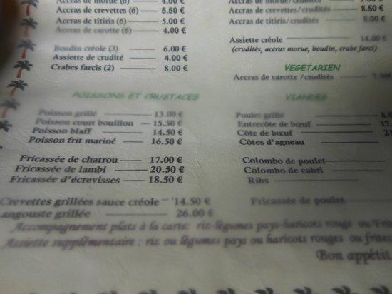 Restaurant le Titiris: la carte