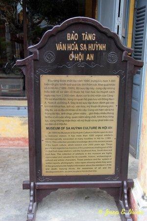 The Sa Huynh Culture Museum: Cartel de entrada al museo