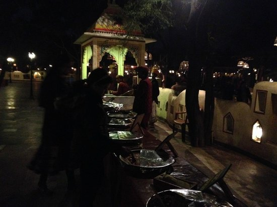 Chokhi Dhani Resort : buffet area for rajasthani thali !