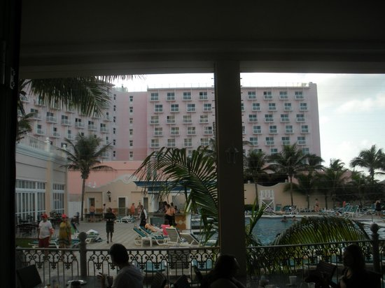 Hotel Riu Palace Paradise Island: from pool area looking the the Atlantis Beach Tower