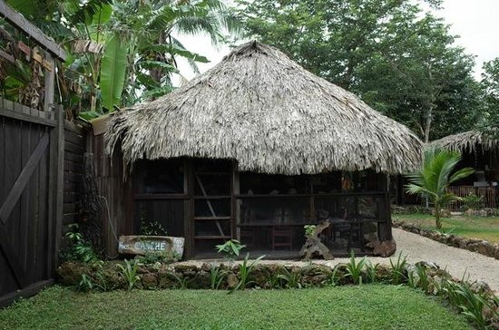 "Cabañas, Hostal y Camping ""Magic Bacalar"": dorm from outside (double upstairs under thatch)"