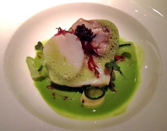 Belmond Le Manoir aux Quat'Saisons: Brill, scallop, cucumber in a wasabi sauce. Fabulous
