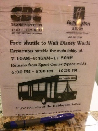 Holiday Inn & Suites Across from Universal Orlando: Disneyworld Shuttle times