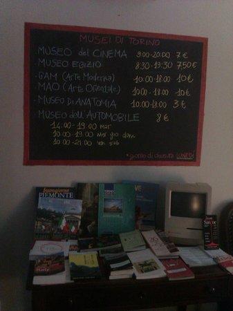 Tomato Backpackers Hotel : Доска в холле с перечислением музеев, их графиком работы и стоимостью посещения.