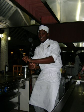 Hedonism II: Our HarrySan chef - always an entertaining dining experience!