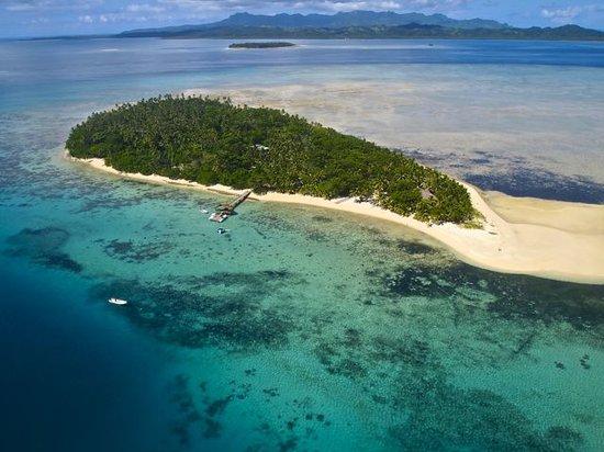 Leleuvia Island Resort: Aerial photo showing Ovalau in the background