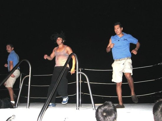 Rhythms of the Night by Vallarta Adventures: Skit on the boat on the way back to Vallarta after the show