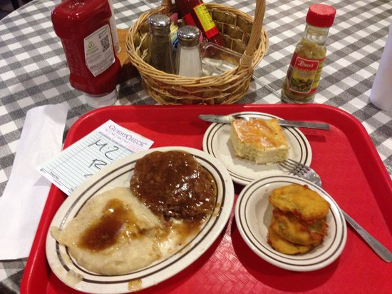 Irondale Cafe Incorporated: Chicken fried steak, fried green tomatoes and cornbread