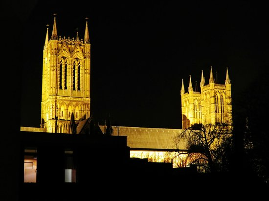 The Lincoln Hotel: view of the cathedral from back bed room balcony