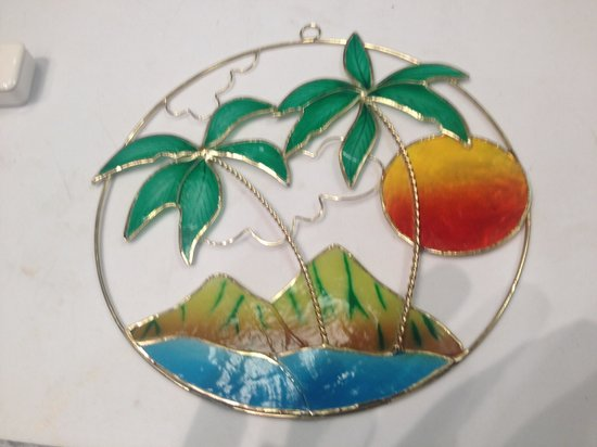 Koa Wood Jewelry : Hawaiian floral Suncatcher made from shell!