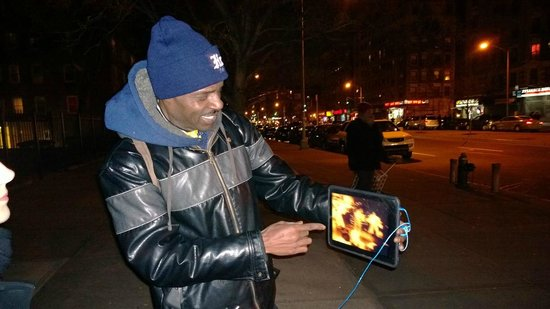 Harlem Heritage Tours: He's just about to start rapping to the music from his backpack
