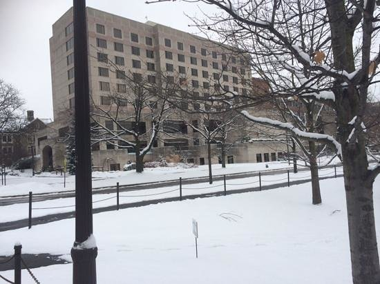 The Statler Hotel at Cornell University : exterior in january