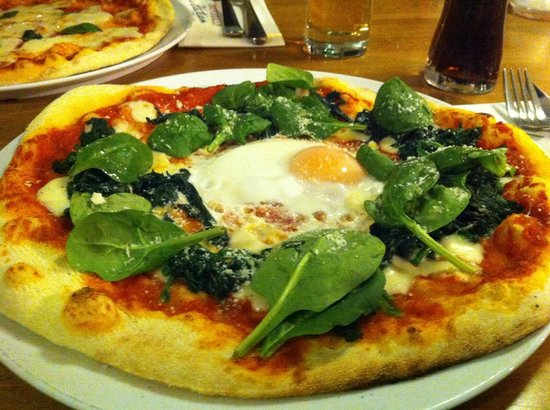 Zizzi - Falmouth: The pizza with the egg on - not very flavourful.