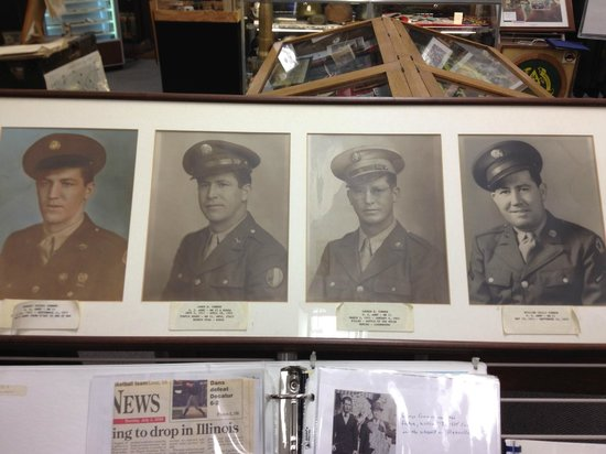 Vermilion County War Museum : Connor men who served in WWII.  L-R: Mike, Jim, George, Bill.  Uncle Hank Shouse made the displa