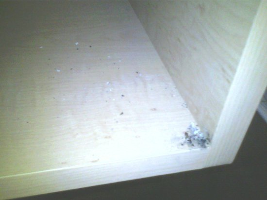 Red Roof Inn Princeton - Ewing: dirt/ashes in cubby under phone table by bed
