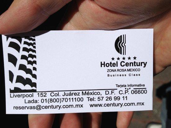 Hotel Century Zona Rosa México: Hotel Card